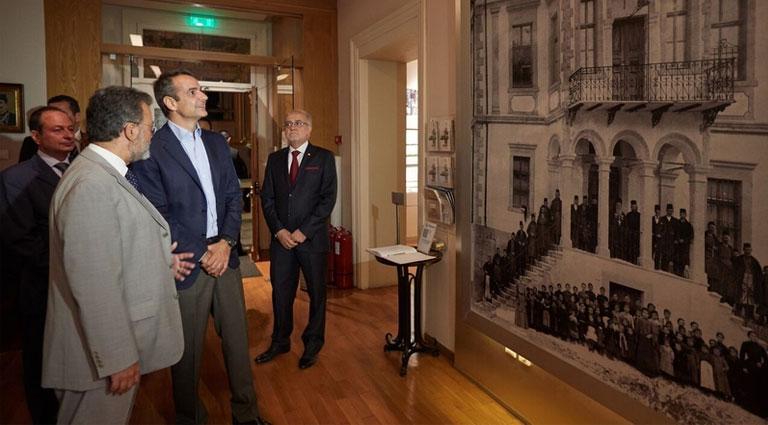Υποδοχή του προέδρου της αξιωματικής αντιπολίτευσης Κ. Μητσοτάκη στο Μουσείο Μακεδονικού Αγώνα